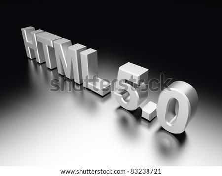 HTML 5.0. 3D rendered Illustration.