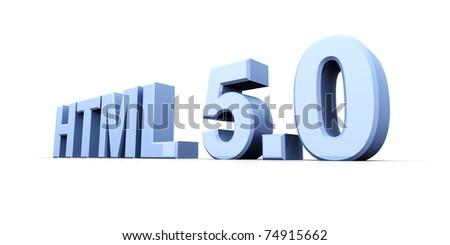 HTML 5.0. 3D rendered Illustration. Isolated on white.