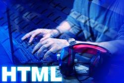 HTML development. Man writes the code. Hands of a man on a laptop keyboard. Concept - HTML programmer vacancy. HTML inscription next to developer. Work for programmers. Employment web developer.
