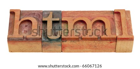 html (hyper text markup language) -  word in vintage wooden letterpress printing blocks isolated on white