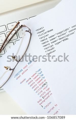 HTML programming concept with html script, computer keyboard and glasses