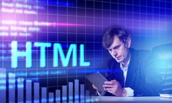 HTML programming language. Using HTML for web programming. Web developer next to HTML logo. Creation of websites and web applications. Hyper text mark langyage. Modern programming languages.