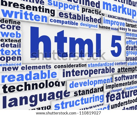 html 5 slogan poster design. Internet technology message concept