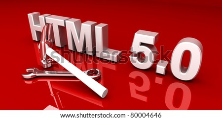 HTML 5.0 tools. 3D rendered Illustration.