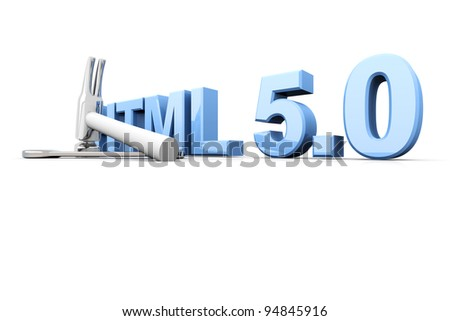 HTML 5.0 tools. 3D rendered Illustration. Isolated on white.
