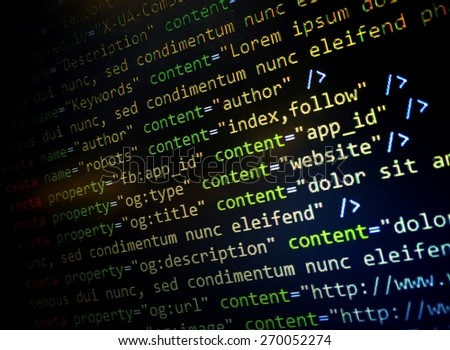 HTML Website code in text editor  #270052274