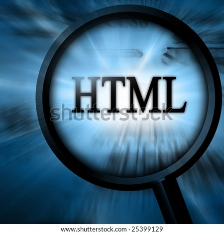 html with magnifier on a blue background