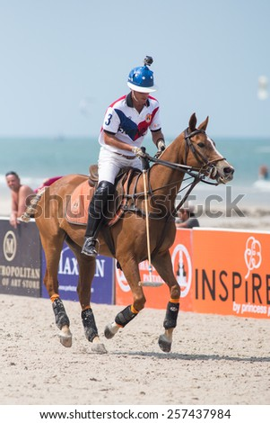 HUA HIN, THAILAND - APRIL 19: Unidentified player of France Polo Team in action during 2014 Beach Polo Asia Championship on April 19 2014 in Hua Hin, Thailand. France Polo Team wins 2-1.