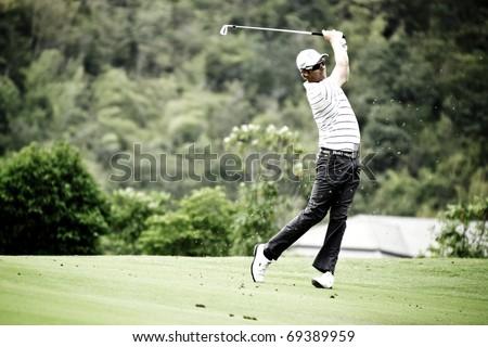 HUA HIN THAILAND - DECEMBER 16: Finnish golfer Mikko Ilonen in action during Day 1 of Black Mountain Masters 2010 on December 16, 2010 at Black Mountain Golf Club in Hua Hin Thailand