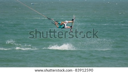 HUA HIN, THAILAND - MARCH 16: PKRA Freestyle rider Holly Kennedy of the UK competes during the 2010 Hua Hin Kiteboard World Cup on March 16, 2010 at Hua Hin Beach in Hua Hin, Thailand