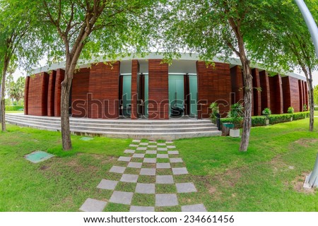 HUA HIN, THAILAND - SEP 6: Seminar building of Hotel De La Paix on Sep 6, 2014 in Hua Hin. The hotel was designed by maverick, iconoclast and visionary architect and designer Duangrit Bunnag.