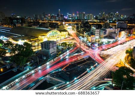 Hua Lamphong, Bangkok Railway station at night, Bangkok, Thailand, Friday June 30 2017 8:50 #688363657