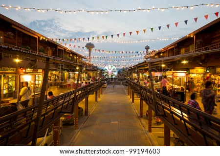 HUAHIN - MARCH 25: Plernwan ancient building famous place  for tourist during twilight time on March 25, 2012 in Huahin, Thailand.