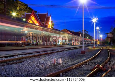 HuaHin railway station at night, Thailand