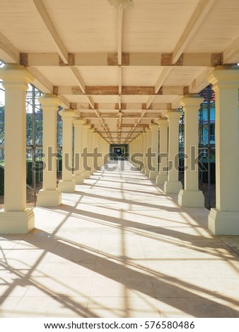 Huahin,Thailand - 26 Nov 2016 : the walk under the bridge, Mrigadayavan palace, Thailand #576580486