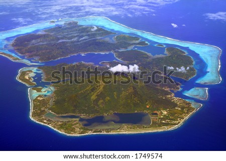 huahine island in French Polynesia, with airport in foreground