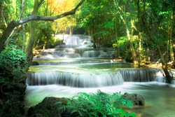 Huai Mae Khamin Waterfall attractions National Park on the Lake of Srinakarin Dam, Kanchanaburi, Thailand.Huai Mae Khamin Waterfall on winter season,