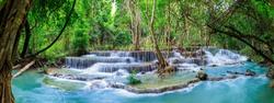 Huai Mae Khamin Waterfall level 6, Khuean Srinagarindra National Park, Kanchanaburi, Thailand, panorama