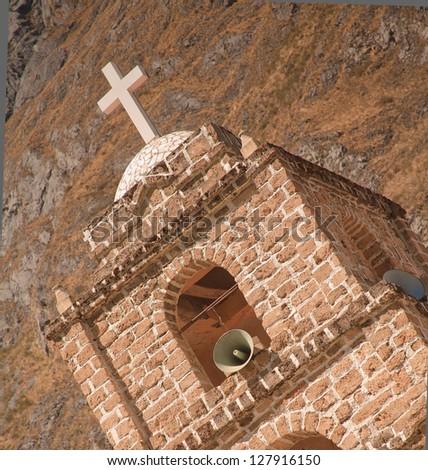 HUANCAYA - LIMA - PERU: Church tower of Huancaya town