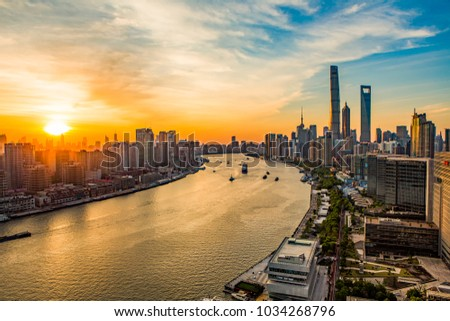 Huangpu River side of the city scenery #1034268796