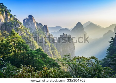 Huangshan (Yellow Mountains), a mountain range in southern Anhui province in eastern China. It is a UNESCO World Heritage Site, and one of China\'s major tourist destinations.