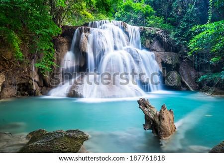 Huay Mae Kamin Waterfall at Kanchanaburi province Thailand