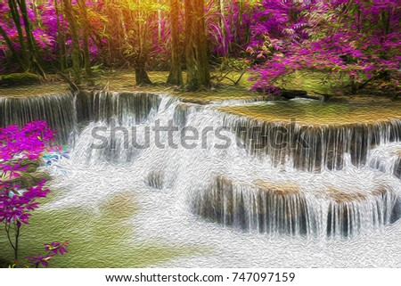 Huay Mae Kamin Waterfall in deep forest at Kanchanaburi province, Thailand,mde with oil paint effect