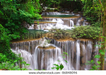 Huay mae Kamin waterfall in Thailand in deep forest