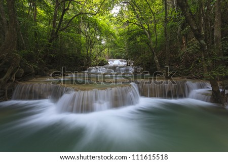 Huay Mae Kamin Waterfall, Kanchanaburi, Thailand - stock photo