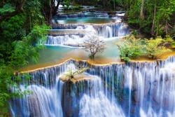 Huay mae kha min waterfalls in national park of Thailand.