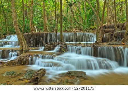 Huay Mae Khamin, beautiful waterfall in Thailand