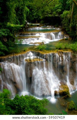 Huay Mae Khamin Forth Level, Paradise Waterfall located in deep forest of Thailand