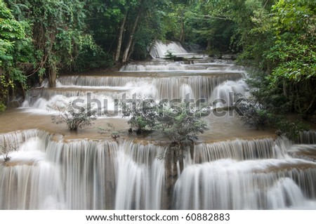 Huay Mae Khamin Forth Level, Paradise Waterfall located in deep forest of Thailand.