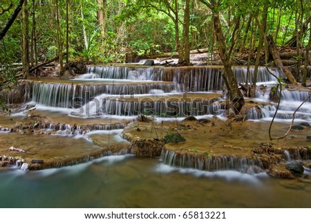 Huay Mae Khamin Sixth Level, Paradise Waterfall located in deep forest of Thailand