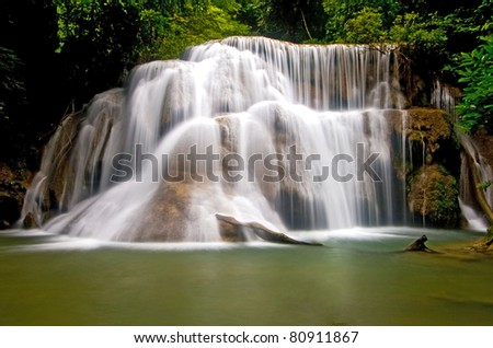 Huay Mae Khamin tropical Waterfall, Paradise waterfall in deep jungle of Thailand