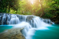 Huay Mae Khamin waterfall in tropical forest of national park, Thailand