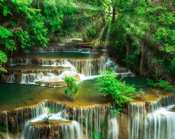 Huay Mae Khamin Waterfall is located in the Srinakarin Dam National Park. The waterfall flows from the upstream of the Khao Kala, which is a dry evergreen forest in the east of Srinakarin Dam National
