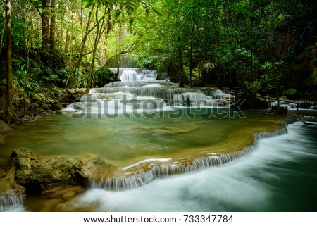 Huay Mae khamin waterfall Landscape of tropical forest in kanchanaburi thailand #733347784