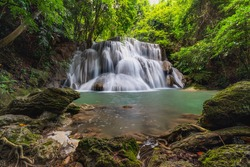 Huay Mae Khamin Waterfall Waterfall paradise Travel all year at Kanchanaburi, a 7-tiered waterfall in a national park with hiking trails and emerald green swimming spots. Famous waterfalls in Thailand