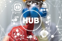 Hub Network Industrial Data Technology Concept. Industry 4.0.
