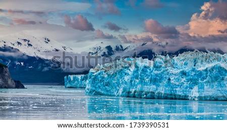 Hubbard Glacier in Alaska under Cloudy Skies Stock photo ©