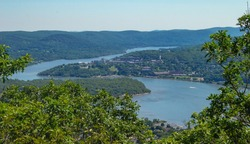 Hudson River Winding Though Mountain Range Near a Small Town