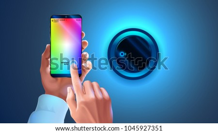 Hue app on phone used to control smart lamp in smart home system. Hands holding smartphone, changing color light wall lapm. Wi-fi remote bulb light. Smart phone connection with wireless lamp via wi-fi