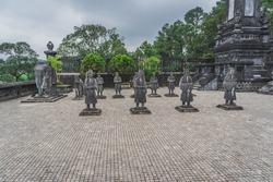 Hue city, Viet Nam: statues at Khai Dinh Tomb emperor in Hue, Vietnam. A UNESCO World Heritage Site. Hue, Vietnam