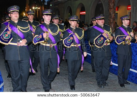 HUELVA, ANDALUSIA, SPAIN - APRIL 1: Semana Santa - Holy Week, The traditional processions in the streets, april 1, 2010 in Huelva, Andalusia, Spain.