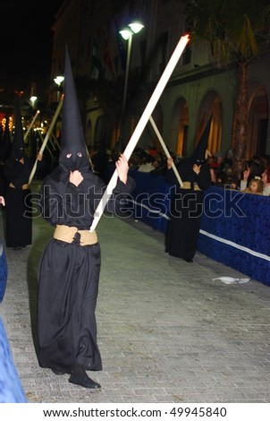 HUELVA, ANDALUSIA, SPAIN - MARCH 30: Semana Santa - Holy Week, The traditional processions in the streets, march 30, 2010 in Huelva, Andalusia, Spain.