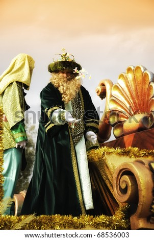 HUELVA - JANUARY 5: Three Kings, January 5th each year sees the celebration of traditional Kings Day parade, as Caspar, Balthazar and Melchior, january 5, 2011 in Huelva, Andalusia, Spain