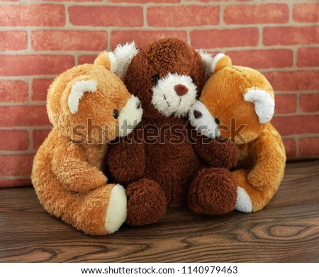 hug three bear toy and doll brown and light brown with vintage wall #1140979463