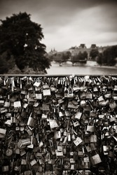 Huge amount of padlocks on bridge over River Seine in Paris