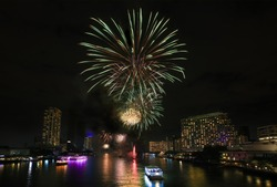 Huge Beautiful firework over city and Chao Phraya river, Bangkok, Thailand
